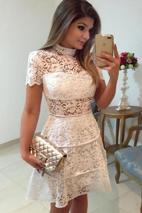 Lace White Party Dress, Lace Homecoming Dresses, Party Dress White, High Neck Homecoming Dresses