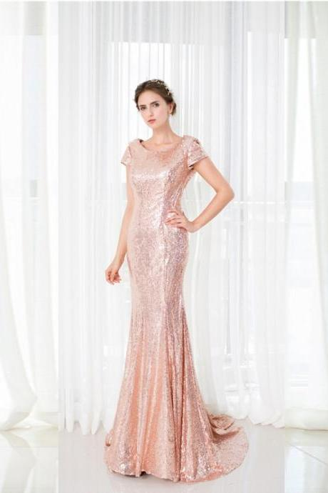 New Arrival Prom Dress,Fashion Prom Gown,Long Sequins Evening Dress,Sexy Open Back Party Dress,Adult Dress,Chiffon Mermaid Prom Dress