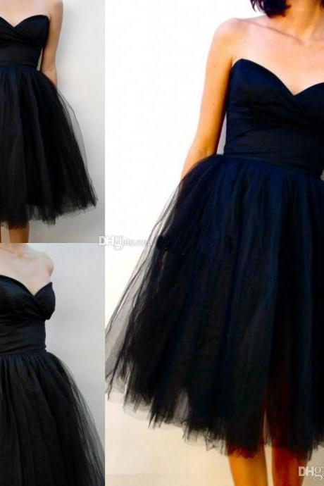 Black Homcaming Dress,strapless tiulle homecoming dress