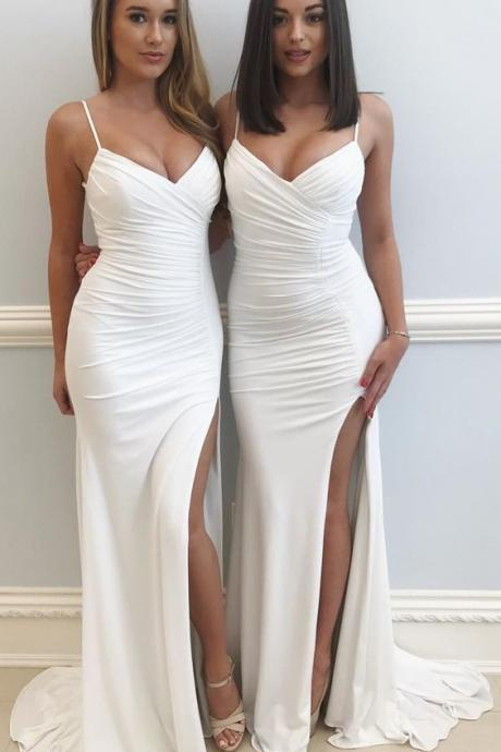 Sexy,backless Long, Mermaid, White Prom Dress,sexy long dress,spaghetti party dress,backless dress, evening dress,sweep train prom dress