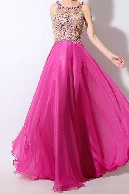 Chiffon prom dress Scoop Neckline See-through party dress A-Line Prom Dress