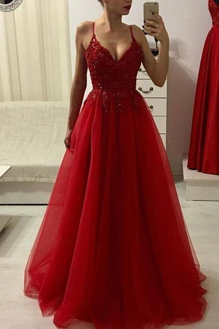 Red formal dress v neck ball gowns lace tulle party dress long prom dress, red evening dress