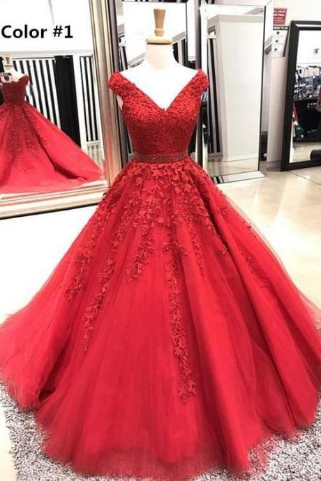 Lace V-Neck ball gowns Long Pom Dresses Applique Evening Dresses A-Line Formal Dresses, off shoulder party dress