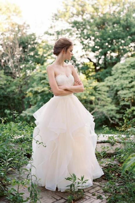 strapless Wedding Dress Illusion tulle white wedding dress