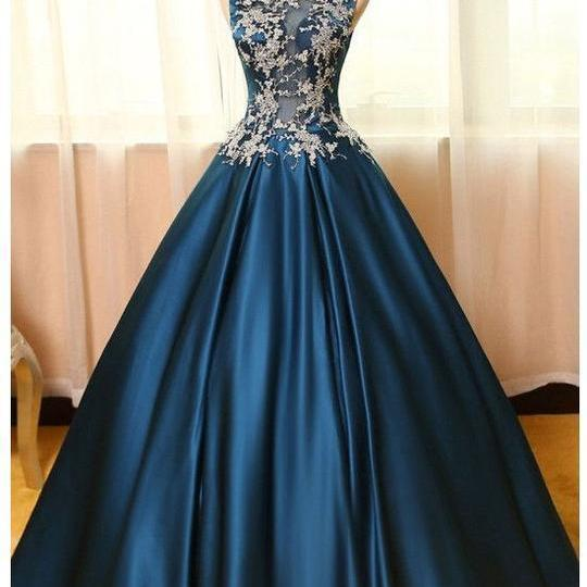 High Neck Sleeveless Appliques ,Long Prom Dresses, Blue Ball Prom Gowns