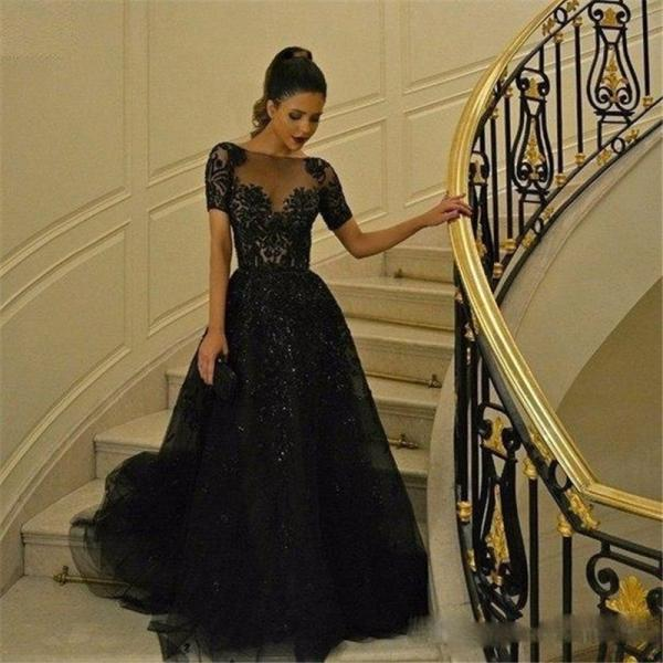 Formal Occasion Dresses,Wedding Guest Prom Gowns,New Cheap Robe Elegant Black Maternity Evening Dresses Short Sleeves Prom Gowns