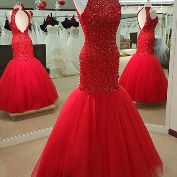 Sexy Red Prom Dress,Cheap Tulle Prom Dress,Beading Mermaid Prom Dresses, Beaded Long Open Back Evening Gowns