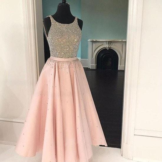 2018 Two Piece Tea-Length Homecoming Dress White and Pink Prom Dresses Cocktail Dresses