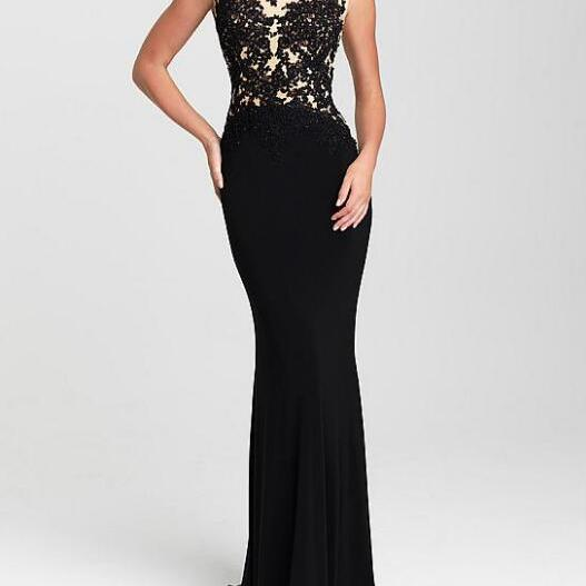 Shinning Tulle & Chiffon Jewel Neckline Mermaid Evening Dresses With Beaded Lace Appliques