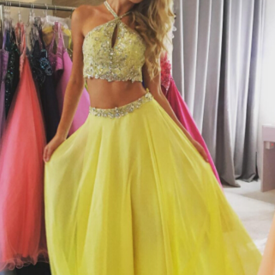 2 Piece Chiffon Prom Dresses Crystals Women Party Dresses,Evening Dresses,Yellow Dresses