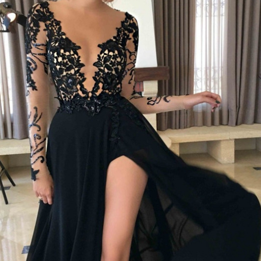 Black Sexy Split Sheer Sleeves Lace Prom Dresses,Evening Dresses