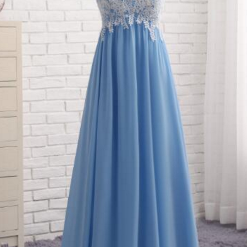 A Pale Blue, Sleeveless Evening Dress, Bridesmaid Dress, Fashion Wedding Dress, Prom Dresses,Formal Party Dress