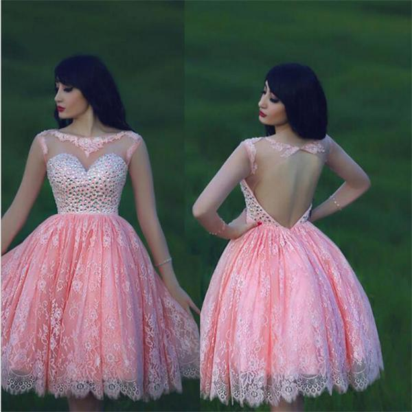 Short Pink Prom Dress, Crystal Homecoming Dress, Lace Prom Dress, Sexy Open Back Dress,Short Cocktail Dress, Cap Sleeve Party Dress, Custom Dress