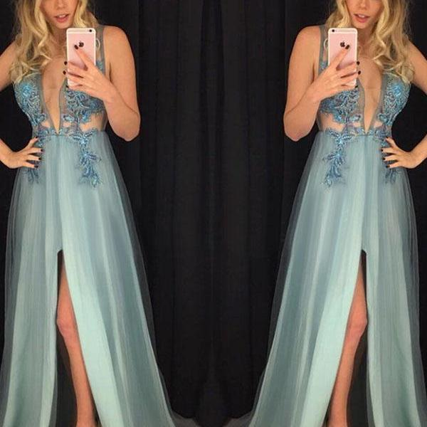 A-line V-neck Floor-length Sleeveless Tulle Prom Dress Evening Dress