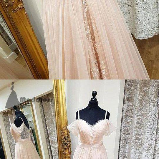 pink lace long prom dress chiffon sweetheart a-line evening dresses off shoulder party dress floor length dress