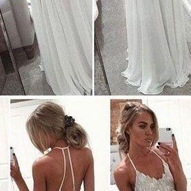 A Line Chiffon White Evening Gowns, Spaghetti Strap Open Back Prom Dress, long prom dress