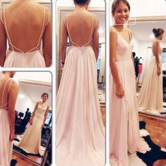 Custom Made prom dress A Line  party dress Sweetheart Neck Pink Backless Long Prom Dresses, Long Formal Dresses